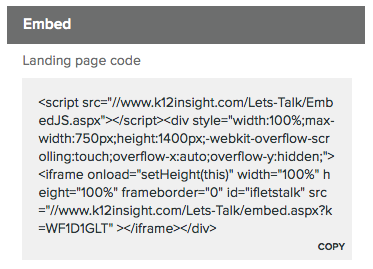 Where to Find Embed Codes for Landing Pages « Learning Center