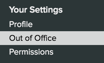 Out of office Settings